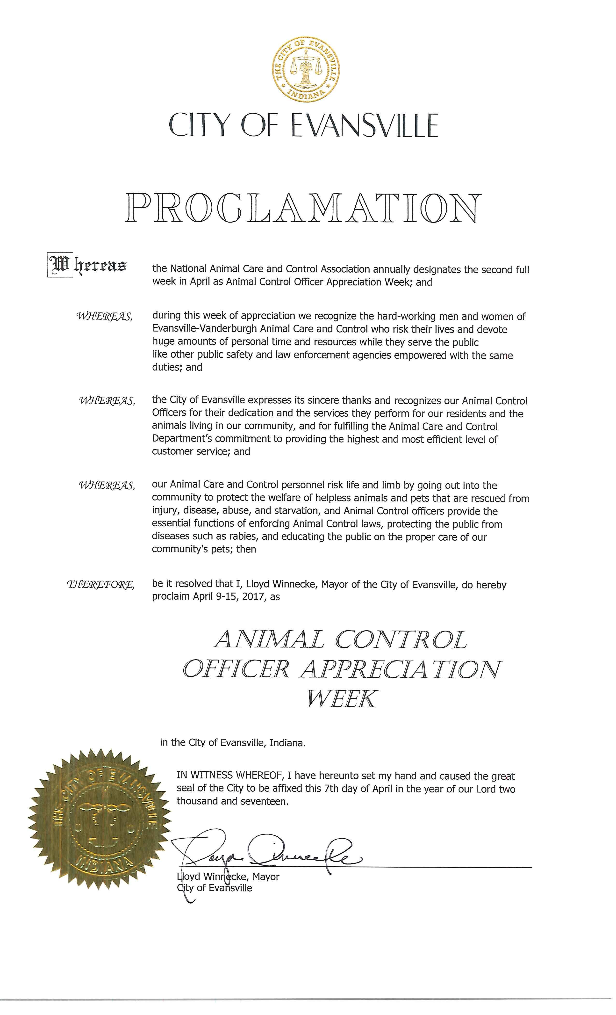 mayoral proclamation examples    city of evansville