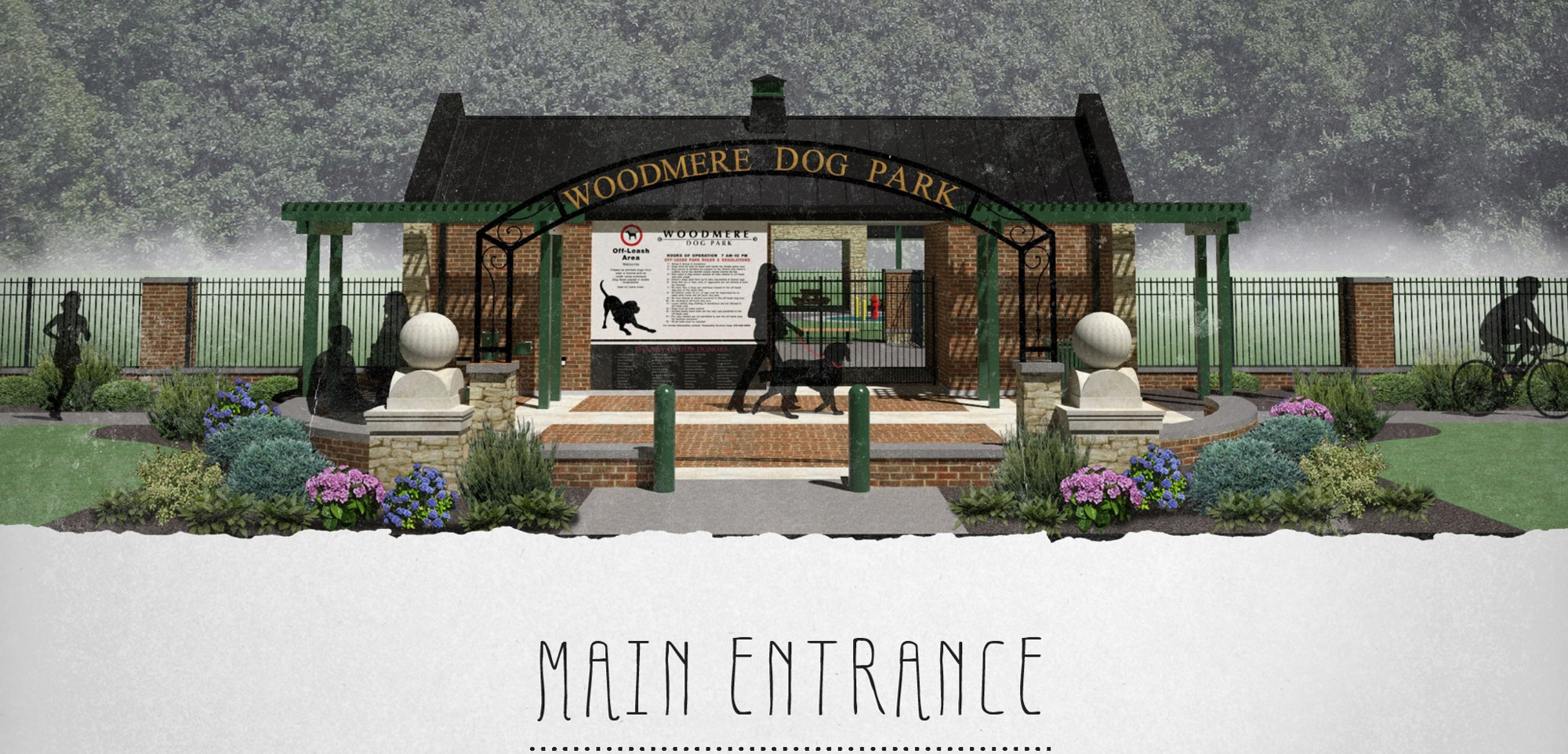 Architect's Rendering of the Woodmere Dog Park Main Entrance