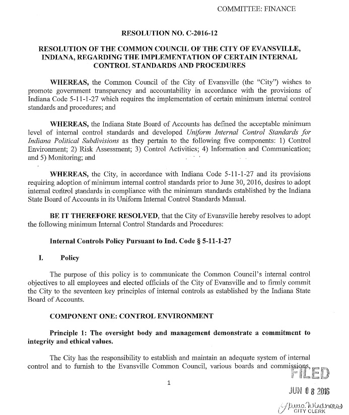 Resolution No. C-2016-12 Acctg Internal Control Stds and Procedures