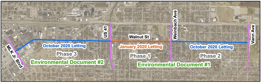 Walnut Street Improvement Project Route Map with Phases